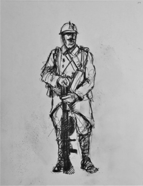 3847 armistice centenary drawing 79, compressed charcoal on paper, 27 x 33 cm 2018