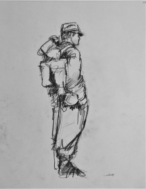 3849 armistice centenary drawing 77, compressed charcoal on paper, 27 x 33 cm 2018