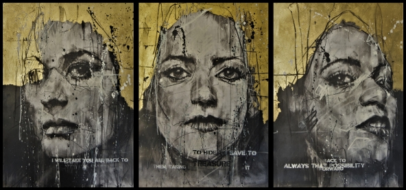 'under a thousand suns', mixed media drawing triptych 120 x 60 cm 2019